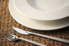 Place setting. Close up of a restaurant table, with a soft light stock photo