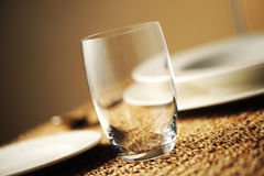 Place setting. Close up of a restaurant table, with a soft light royalty free stock photos