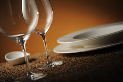 Place setting. Close up of a restaurant table, with a soft light stock image