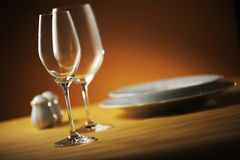 Place setting. Close up of a restaurant table, with a soft light stock photos