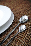 Place setting. Close-up of silverware , on the dining table royalty free stock image