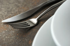 Place setting. Close-up of silverware , on the dining table stock images