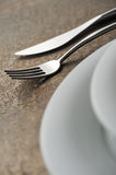 Place setting. Close-up of silverware , on the dining table royalty free stock images
