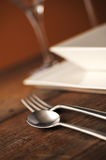 Place setting. Close-up of silverware , on the dining table stock photos