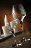 Place setting. Glass on table, close up, shallow dof royalty free stock photos