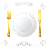 Place setting. One person place setting for your menu designs Royalty Free Stock Photo
