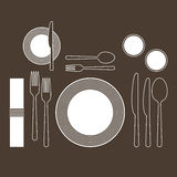 Place setting. With plate, fork, spoon and knife Stock Photos