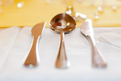 Place setting. Close-up on tablecloth stock photos