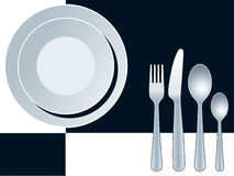Place setting. With plate, fork, spoon and knife Stock Photography