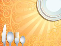 Place setting. With plate, fork, spoon and knife Royalty Free Stock Photo