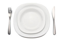 Place setting. Over white background stock image