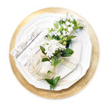 Place setting. With invitation and flowers - isolated on white stock images
