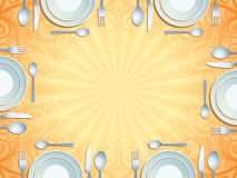 Place setting. With plate, fork, spoon and knife Royalty Free Stock Photos