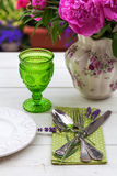 Place setting with antique cutlery Stock Photo