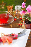 Place setting in autumn. Place setting in the fall for Thanksgiving stock image