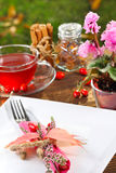 Place setting in autumn. In the garden stock images