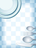 Place setting blue. Blue place setting with plate, fork, spoon knife, and coffee cup Royalty Free Stock Photo