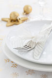 Place setting with bow. And decoration Stock Photography