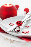 Place setting with candle. And cutlery Royalty Free Stock Image