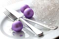 Place setting with christmas. Christmas place setting with christmas balls Stock Image