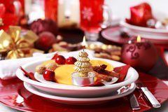 Place setting for Christmas Stock Photography