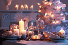Place setting for Christmas. In white royalty free stock image