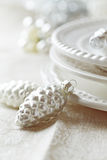 A place setting on a Christmas dining table Stock Images
