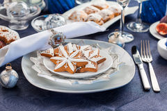 Place setting for Christmas evening Stock Photos