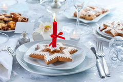 Place setting for Christmas evening Royalty Free Stock Photography