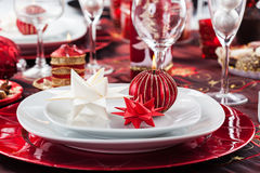 Place setting Christmas with paper star Royalty Free Stock Photos