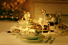 Place setting for Christmas. In vintage colors stock photography