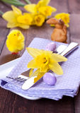 Place setting with daffodil Stock Photography