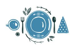 Place Setting Design with Plate Spoon Fork and Cup Royalty Free Stock Photos