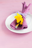 Place setting for easter. With cutlery Stock Images