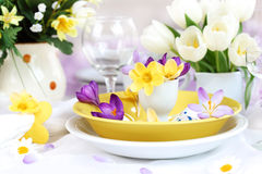 Place setting for Easter with crocuses Royalty Free Stock Image