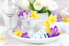 Place setting for Easter with crocuses Stock Photography
