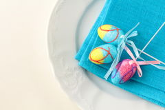 Place setting for Easter elegant Stock Photo