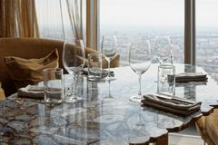 Place setting in a restaurant Stock Images