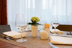 Place setting in an expensive restaurant Royalty Free Stock Images