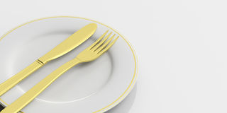 Place Setting, finished signal, on white background. 3d illustration. Place Setting, golden cutlery, finished signal, on white background. 3d illustration Royalty Free Stock Photography