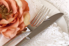 Place Setting with Flower and Lace Royalty Free Stock Photography