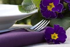 Place setting with flowers Stock Image