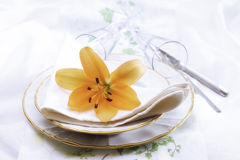 Place setting with flowers Stock Images