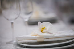 Place setting with flowers Stock Photos