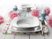 Place Setting For Easter Dinner Stock Photos