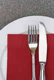 Place Setting Fork Knife Napkin Stock Photos