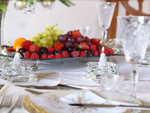 Place setting with fruit tray Royalty Free Stock Photos