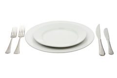 Place setting with high-gloss plate, knife & fork Royalty Free Stock Photo