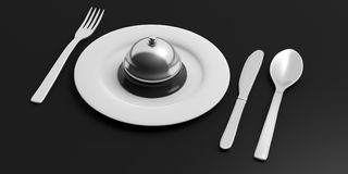 Place Setting and hotel bell on black background. 3d illustration Stock Photography
