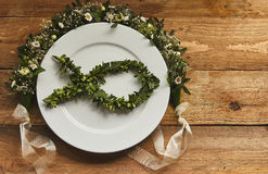 Place setting of Ichthys symbol Royalty Free Stock Photo